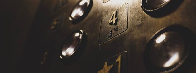 Vintage elevator controls.