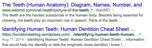 SERPs for keyword: identify human teeth