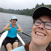Dany and her friend Julie rowing on the Connecticut River