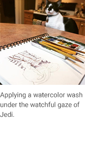 "Painting With Jedi, caption reads ""Applying watercolor wash under the watchful gaze of Jedi."""